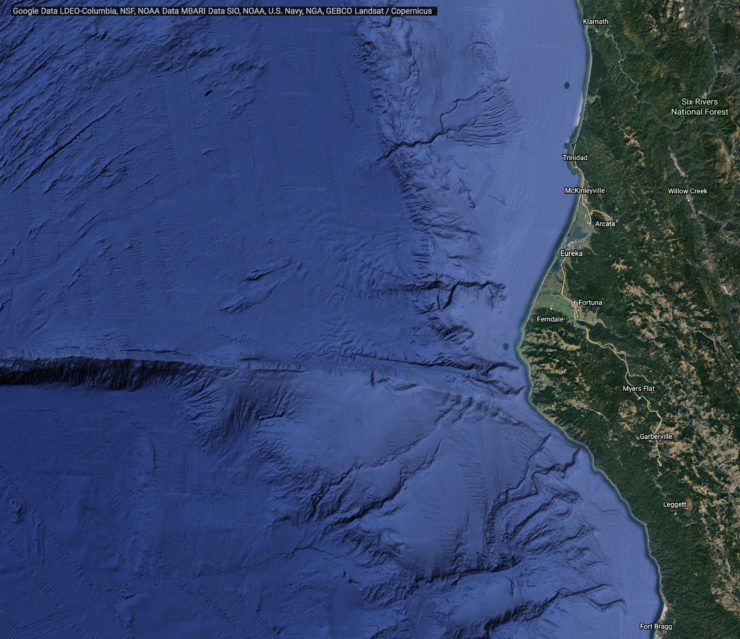 A satellite map of the California coastline from Fort Bragg to Klamath