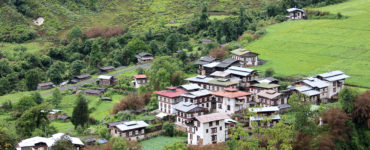 Village nestled between hills