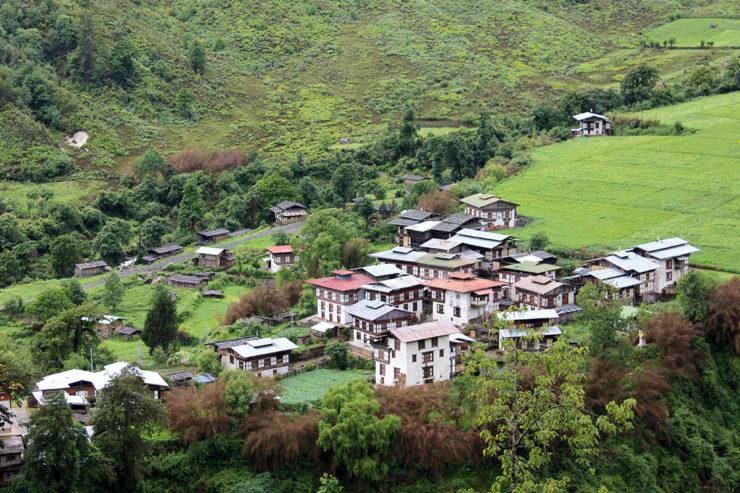 Village nestled between hills