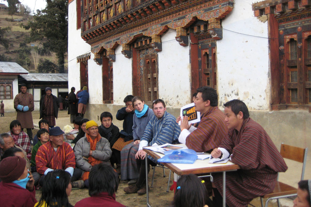 A Schatz Fellow and two HSU students lead a village energy presentation in Rukubji, Bhutan.