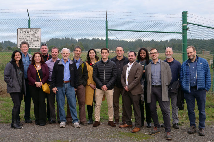 The technical team for the Redwood Coast Airport microgrid stands outside where the array will be located