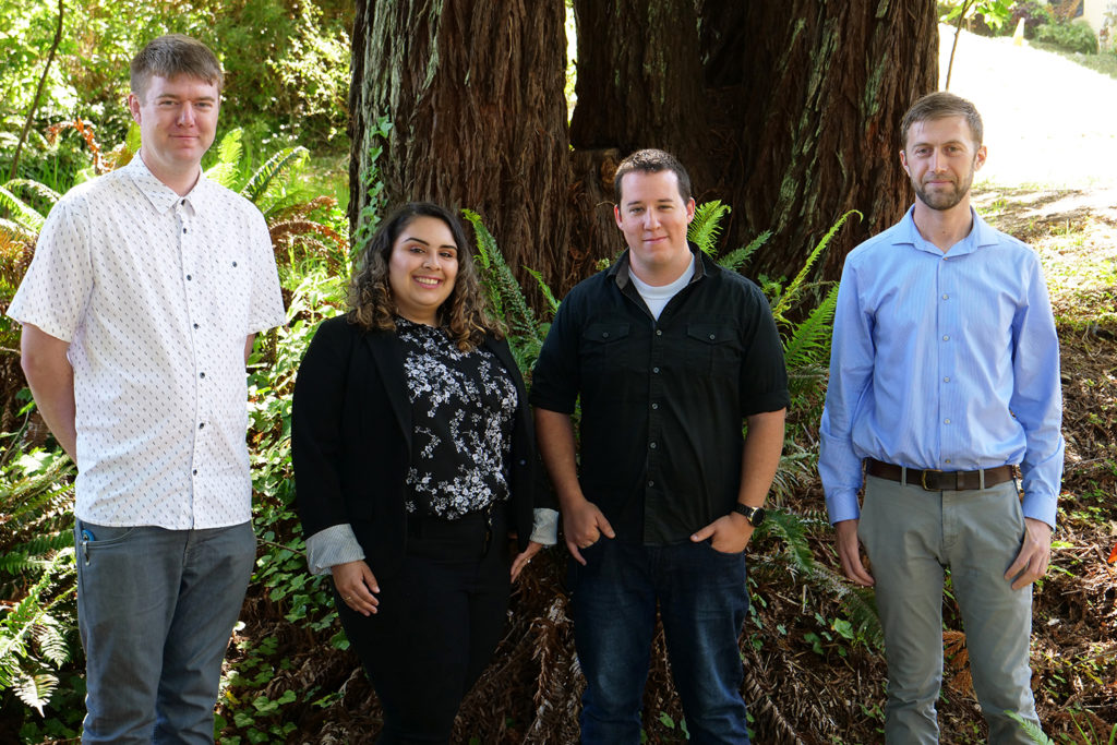 Four staff members stand beneath redwoods