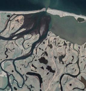 Aerial image shows the Kivalina peninsulas