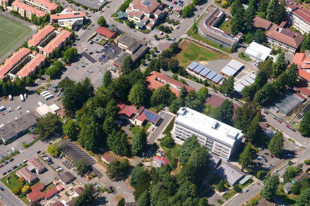 Aerial of HSU shows the Schatz Center and surrounding buildings