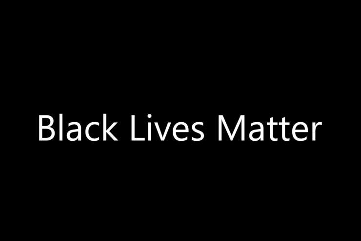 Black Lives Matter in white font on a solid black background