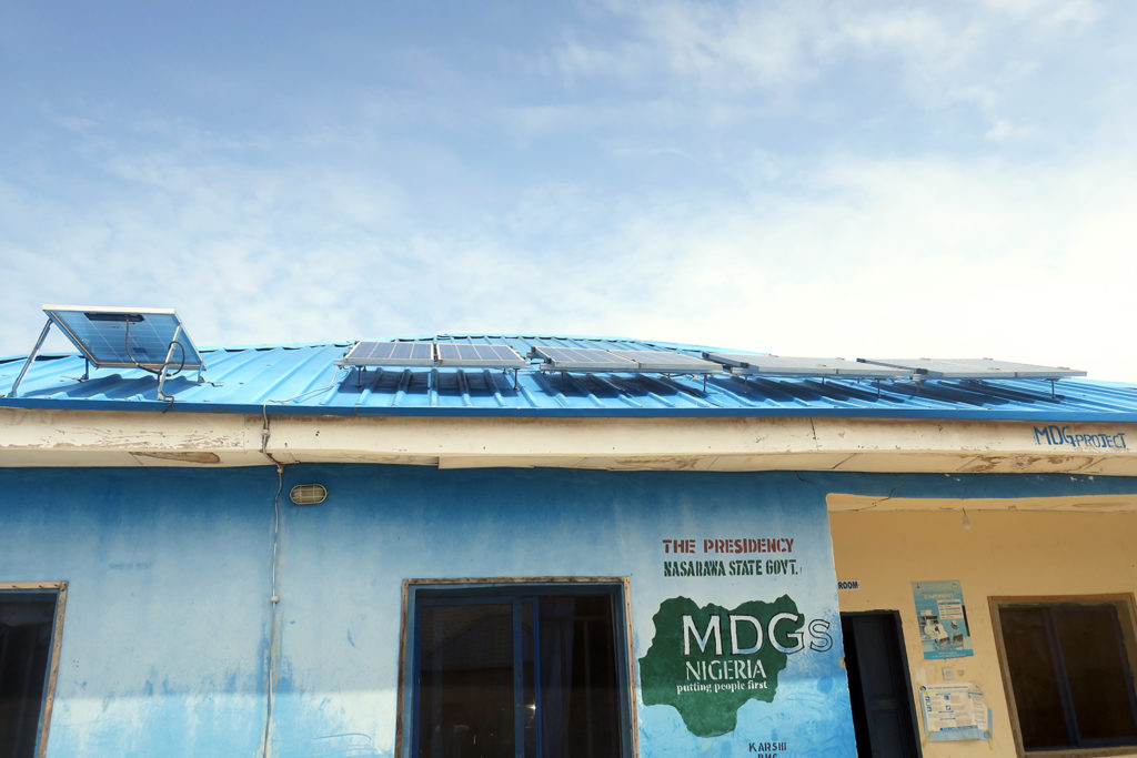 Solar panels on clinic roof in _____ Nigeria
