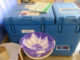 A blue, top-loading refrigerator with a manual on top sits behind nested purple and white plastic bowls and a tan plastic pitcher