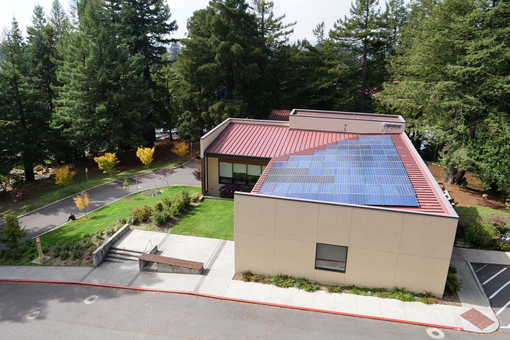 The Schatz Center as seen from the BSS building, ringed by redwoods and with a solar array on a pink-red roof.