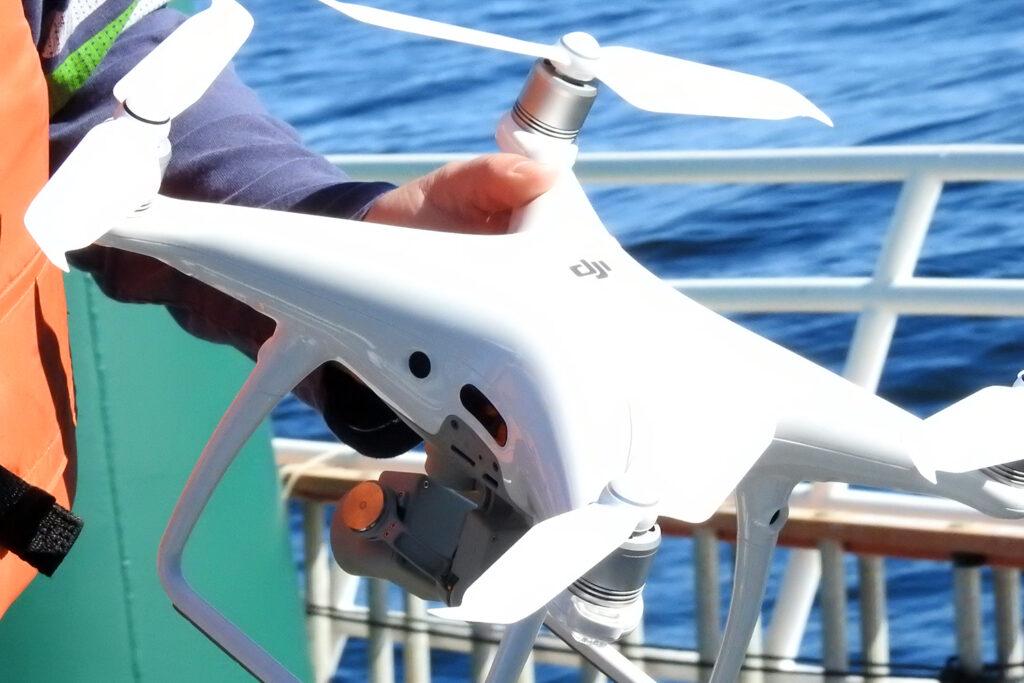 A closeup of a drone