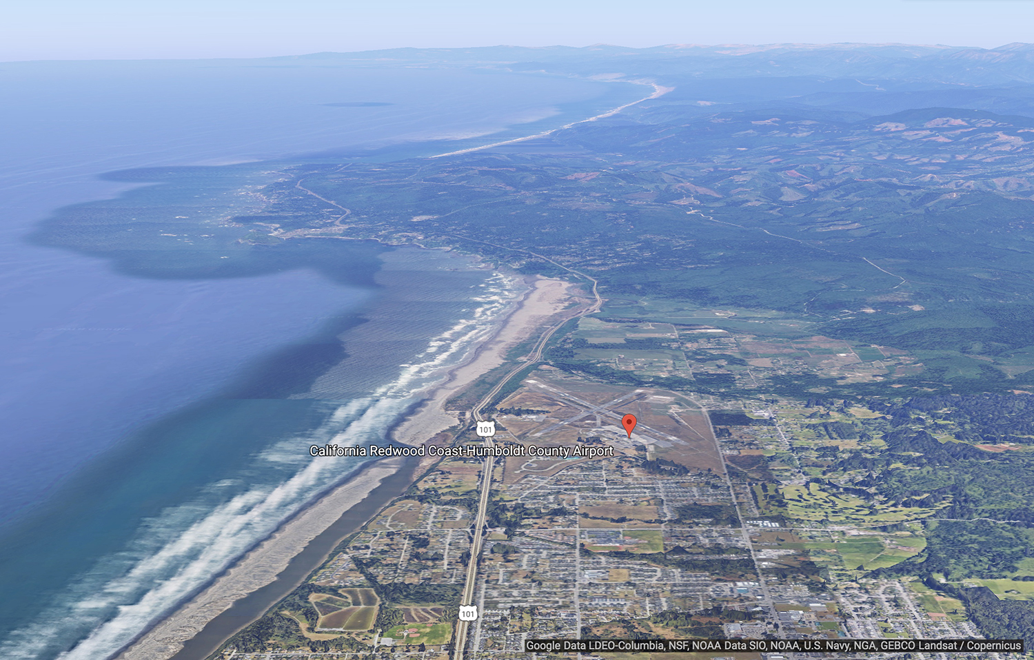 Aerial image of coastline and town of McKinleyville, CA, with airport marked