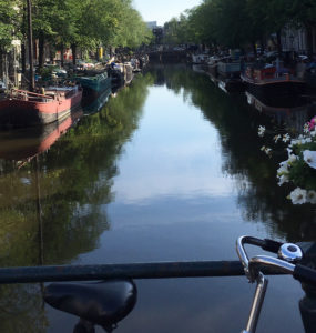 A bike is propped against a bar on a canal bridge. Boats are in the water, flowers and bushes are on the edges, and cars are parked above the canal.