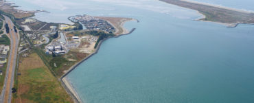 An aerial photo of the Humboldt Bay Generating Station, across from the south peninsula of Humboldt Bay
