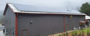 The Tulley Creek solar array on a winter afternoon